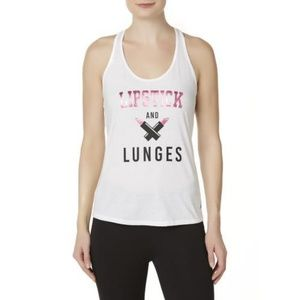 NWOT Women's Tank Top-Lipstick and Lunges